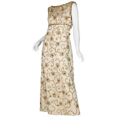 1960s Gold Gown Embellished with Crystals