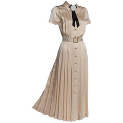 1990s Chanel Creme Silk Knife Pleats Camellia Bow Belted Shirt Dress Documented