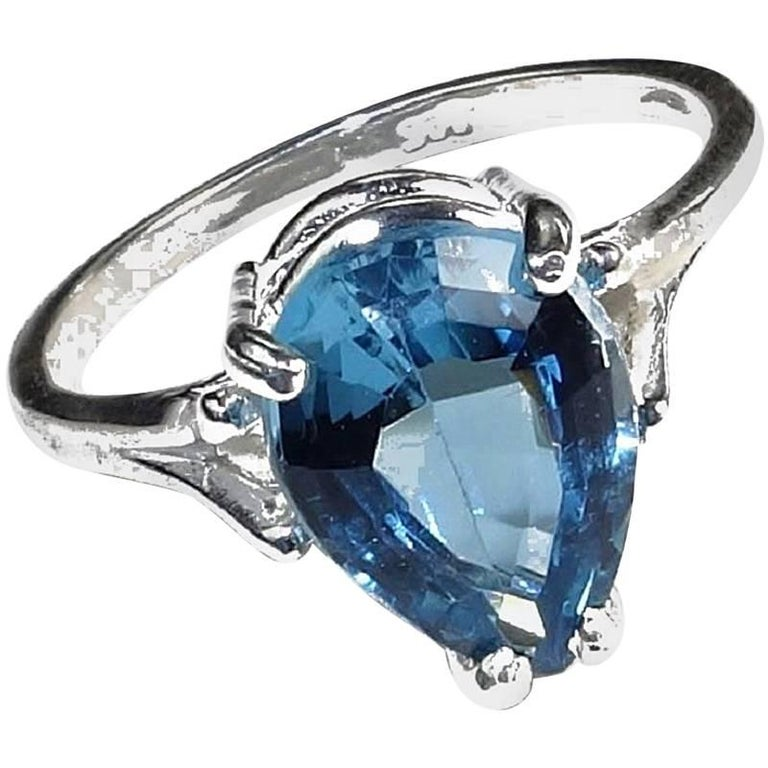 Pear Shape Blue Topaz in Sterling Silver Ring For Sale