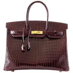 Hermes Bordeaux Porosus Crocodile Gold Hardware Birkin 35 Bag