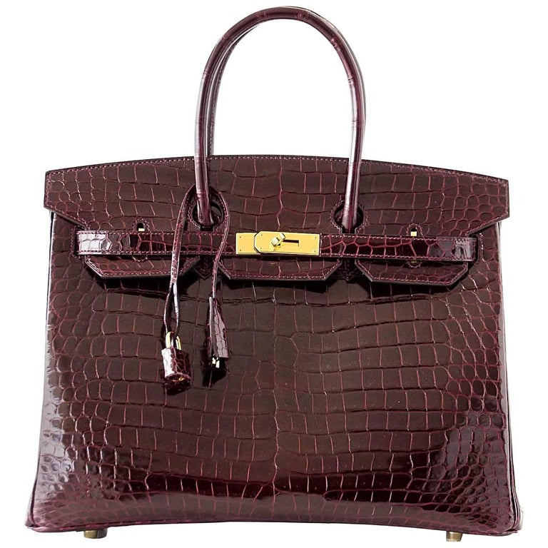 Hermes Birkin 35 Bag Bordeaux Porosus Crocodile Gold Hardware  1