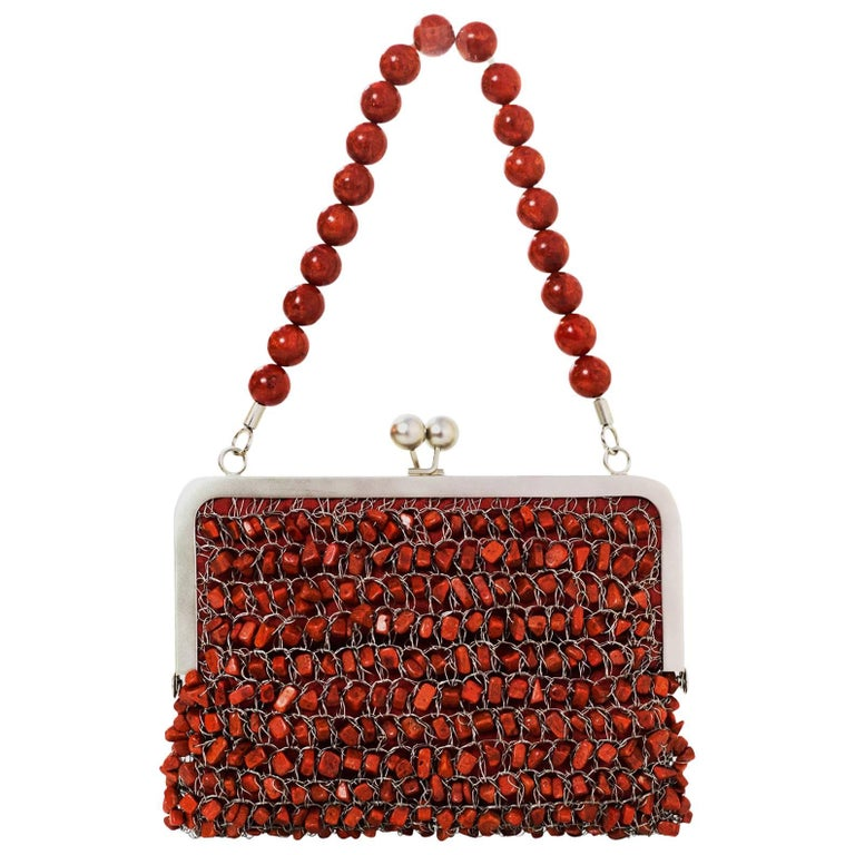 Beatrice Pommier Coral Hand-Crafted Beaded Handbag
