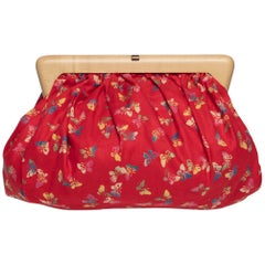 Vintage Bottega Veneta Red Butterfly Print Wood Frame Clutch