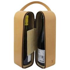 Vintage 1996 Louis Vuitton Natural leather Wine Bottle Case / Bag