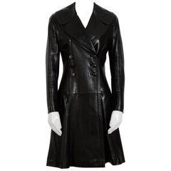 Alaia Black Double Breasted Lambskin Leather  Coat