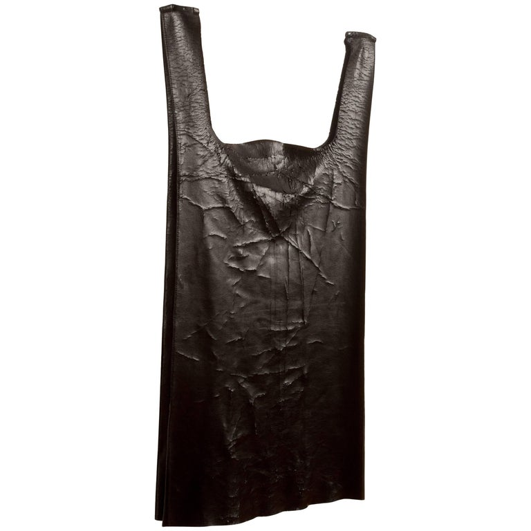 Margiela Spring-Summer 1998 faux leather paper bag vest