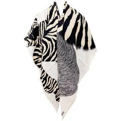 Hermes Zebra Pegasus Pegasus Cashmere Silk GM Shawl Scarf 140cm