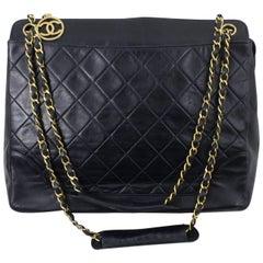 1990 Vintage Chanel Navy leather Shopper Bag with Golden Hardware