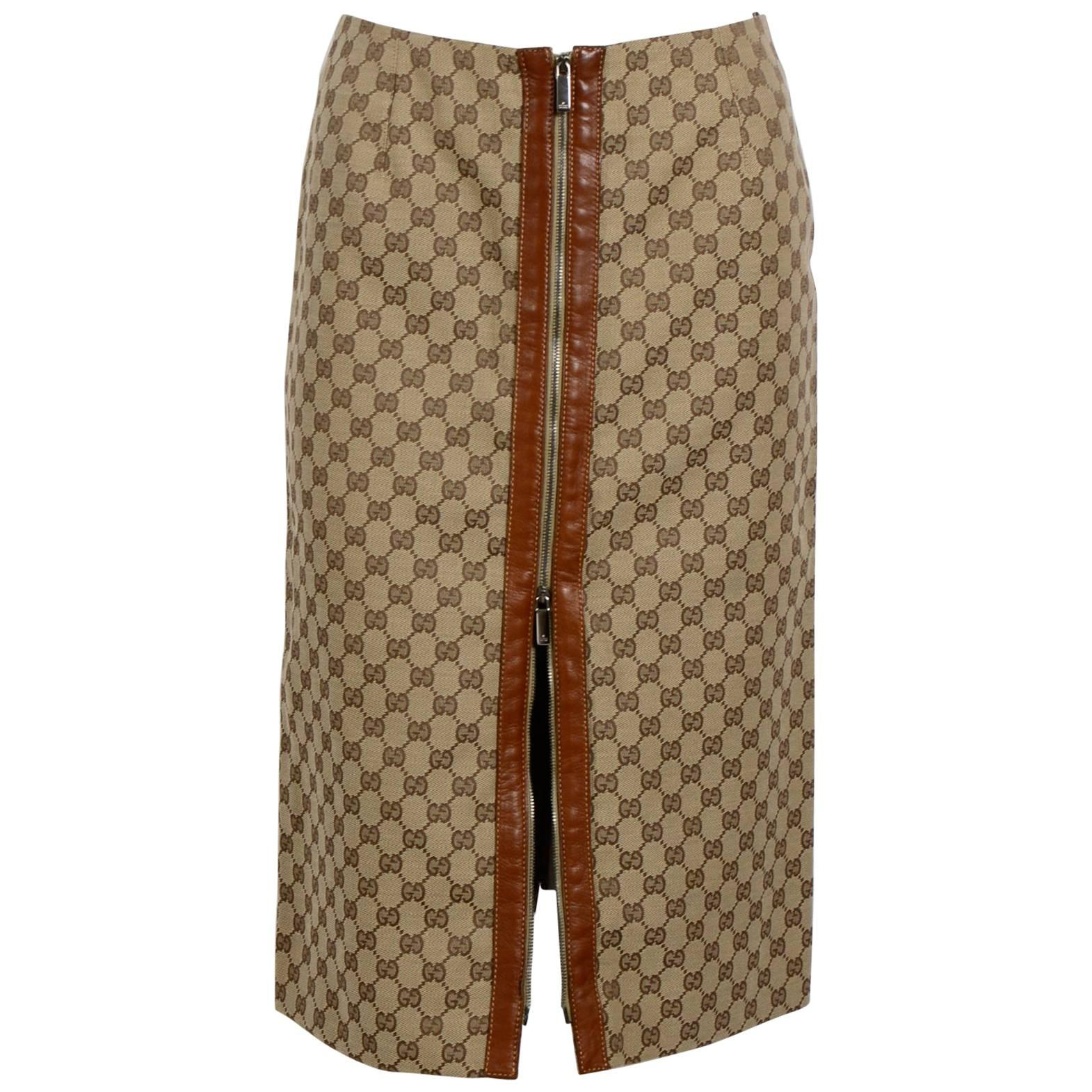 GUCCI Skirt Camel Hair Leather Trim Front Zipper 40 / 6 Nwt For Sale at  1stdibs