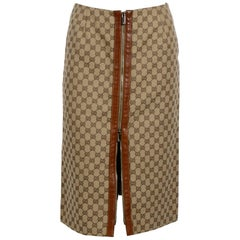 Gucci Leather Trim Logo Skirt with Zipper Detail By Tom Ford
