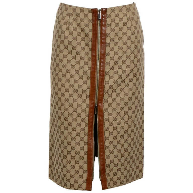 Gucci By Tom Ford Leather Trim Logo Skirt with Zipper Detail