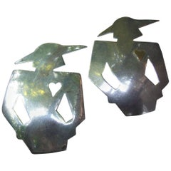 Unique Pair of Sterling Silver Figural Women Brooches c 1980s