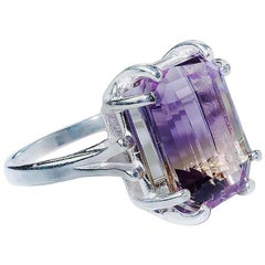 Emerald shape Ametrine set in Sterling Silver ring