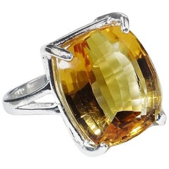 Brazilian Medium Gold Cushion shape Citrine in Sterling Silver Ring