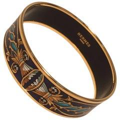 Hermes Navy Blue Teal and Gold Enamel Bangle Bracelet