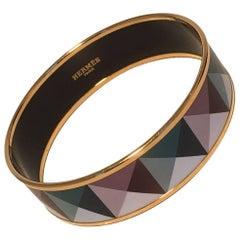 Hermes Teal and Purple Geo Print Gold Enamel Bangle Bracelet