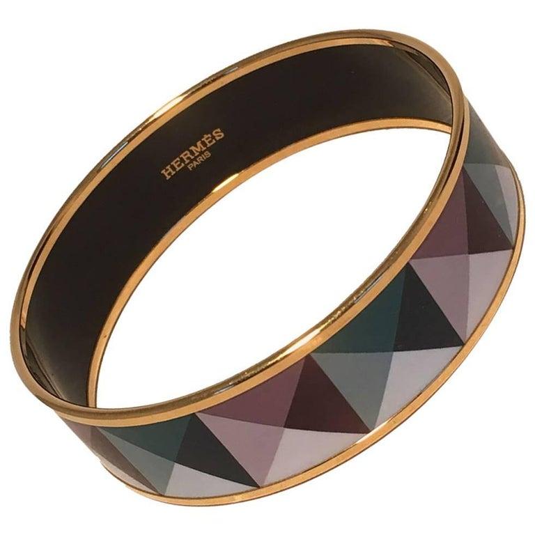 Hermes Teal and Purple Geo Print Gold Enamel Bangle Bracelet  For Sale