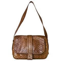 Hermes Vintage Brown Ostrich Shoulder Bag with Dust Bag
