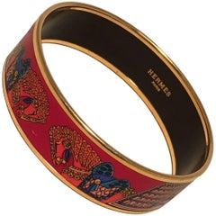 Hermes Red Blue Horse Print Gold Enamel Bangle Bracelet