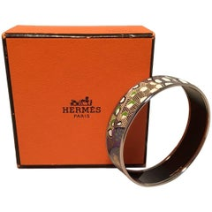 Hermes Multicolor Abstract Print Silver Bangle Enamel Bracelet