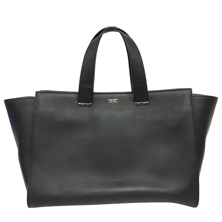 Giorgio Armani Black Leather Trapeze Tote Large Bag At 1stdibs