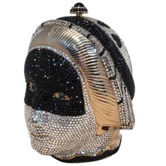 Judith Leiber Swarovski Crystal Queen Head Minaudiere Evening Bag