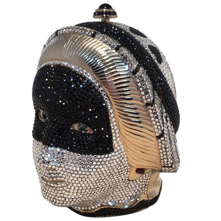 Judith Leiber Swarovski Crystal Queen Head Minaudiere Evening Bag