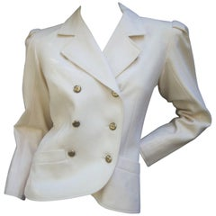 Saint Laurent Rive Gauche Cream Wool Jacket c 1970s