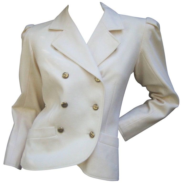 Saint Laurent Rive Gauche Cream Wool Jacket c 1970s