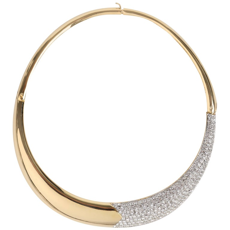 LANVIN c.1970's Gold & Crystal Rhinestone Modernist Collar Choker Necklace For Sale