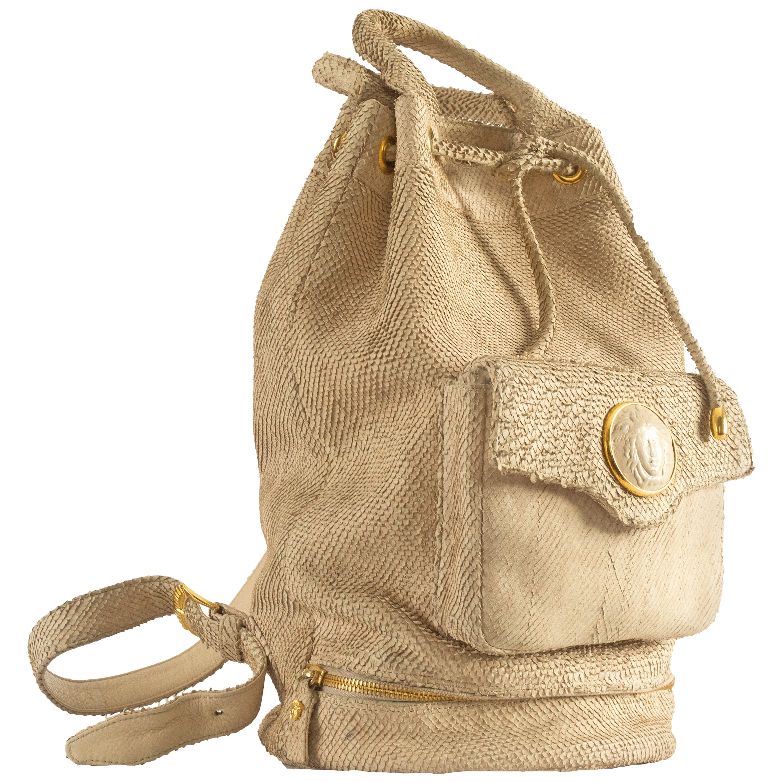 Gianni Versace Spring-Summer 1994 python drawstring backpack