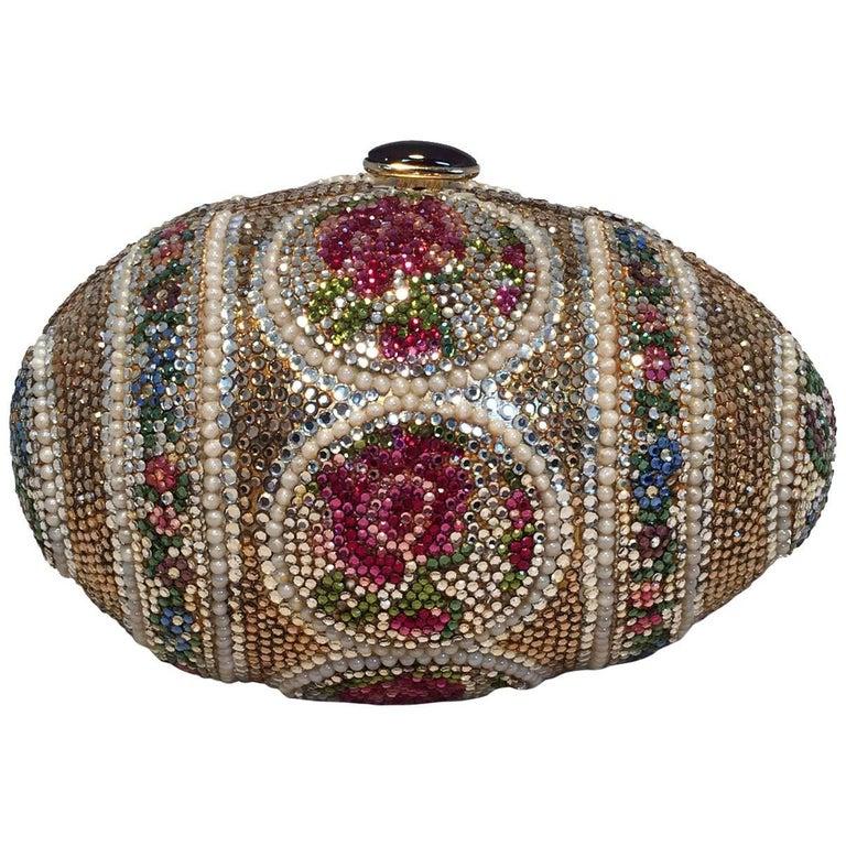 Judith Leiber Pearl Egg Swarovski Crystal Minaudiere Evening Bag For Sale