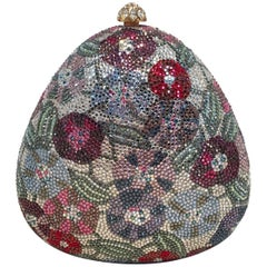 Judith Leiber Swarovski Crystal Floral Curved Triangle Minaudiere Evening Bag