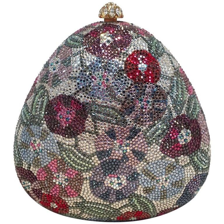 Judith Leiber Swarovski Crystal Floral Curved Triangle Minaudiere Evening Bag