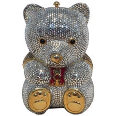 Judith Leiber Swarovski Crystal Teddy Bear Minaudiere Evening Bag