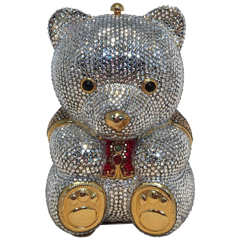 Judith Leiber Swarovski Crystal Teddy Bear Minaudiere Evening Bag For Sale