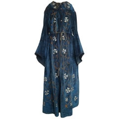CE Ward Antique Edwardian Velvet Cotton Embroidered Floral Blue Coat Robe Game O