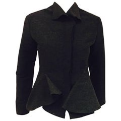 Luscious Lanvin Grey Flirty Jacket with Ruffles & Long Sleeves a True Heritage