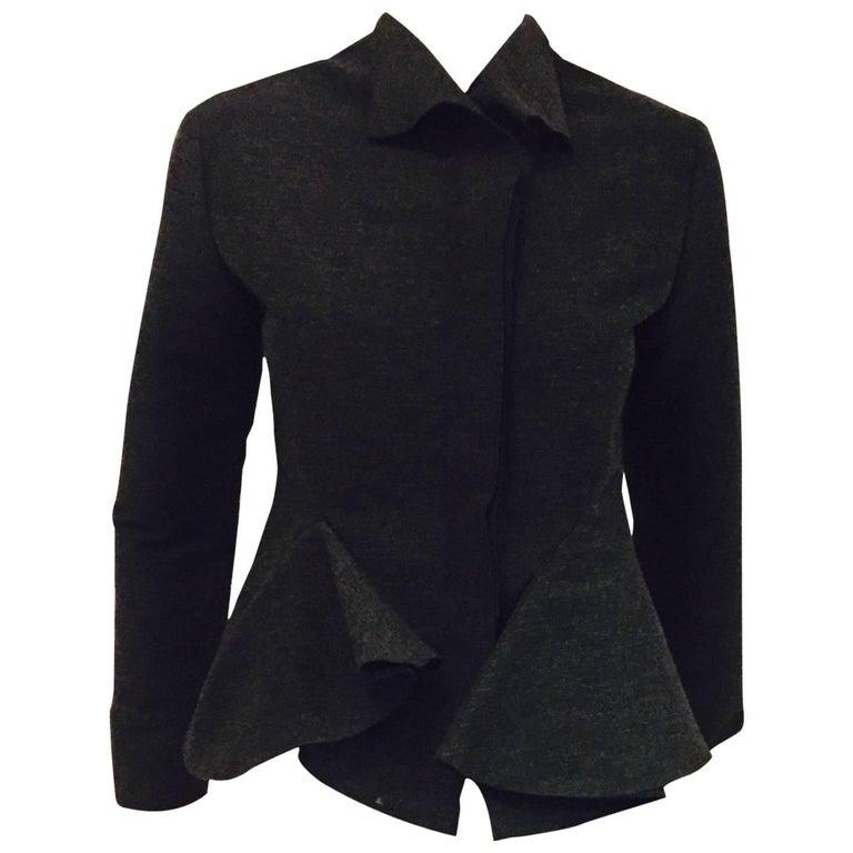 Luscious Lanvin Grey Flirty Jacket with Ruffles & Long Sleeves a True Heritage