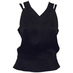 Classy Chanel Black Silk Sleeveless V Neck Camellia Buttons at Back Top