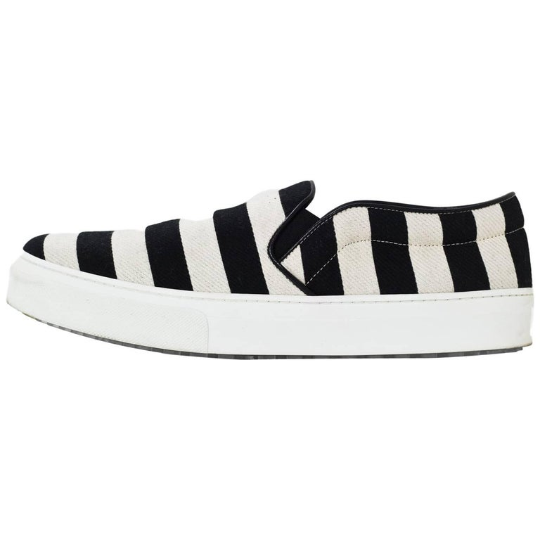 Celine Black & White Striped Canvas Sneakers Sz 41 with Box