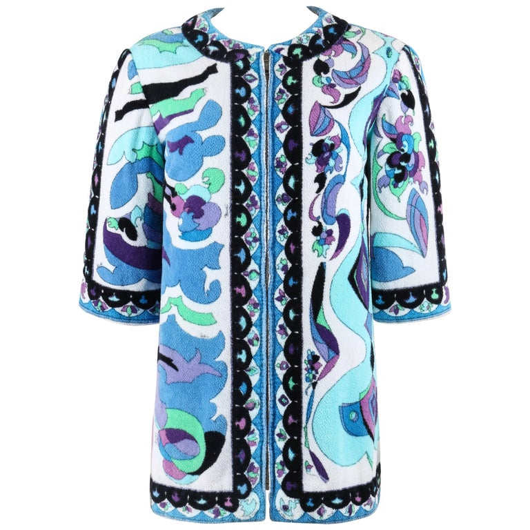 "EMILIO PUCCI c.1967 ""Bangkok"" Multicolor Terrycloth Beach Cover Swim Jacket"