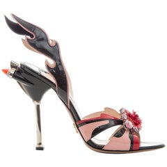 Prada Jewel Toe Tail Light Flame Sandals, Spring 2012