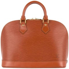 Louis Vuitton Cognac Leather Top Handle Tote Satchel Bag