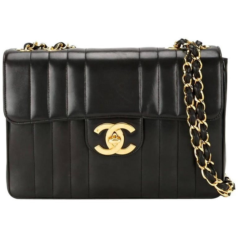 Chanel Black Lambskin GHW Jumbo Stripe Shoulder Flap Bag