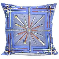 """Vintage Hermès Custom Scarf Pillow""""Cannes & Pommeaux"""" iwj4440-1"""
