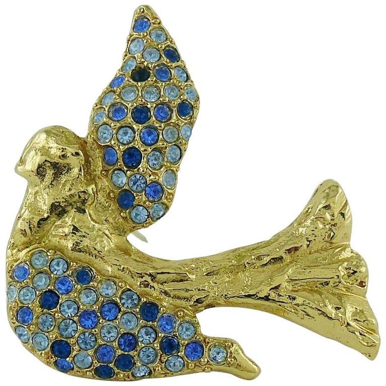 Yves Saint Laurent YSL Vintage Jewelled Bird Motif Brooch 1