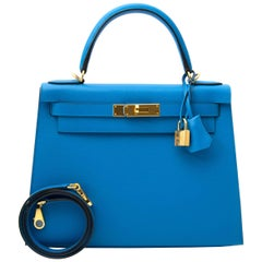 Hermès Kelly Sellier 28 Epsom Bleu Zanzibar GHW