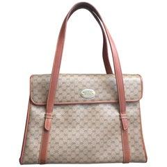 Vintage Gucci beige micro GG monogram print shoulder bag with brown leather