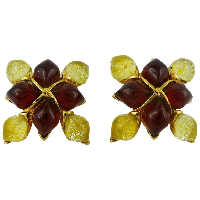 Yves Saint Laurent YSL Vintage Clip-On Earrings with Glass Cabochon For Sale